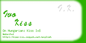 ivo kiss business card